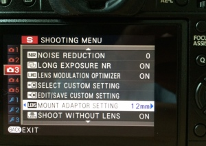 Fujifilm Adapted Lens Setting